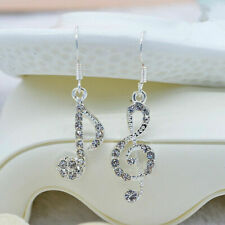 Asymmetric Musical Temperament Music Note Drop Female Silver Earrings