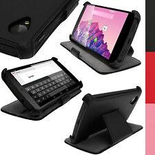 Schwarz PU Leder Tasche Hülle Case für LG Google Nexus 5 Sleep/Wake Schutzfolie