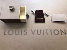 Authentic LOUIS VUITTON Monogram Ring Size L Sterling Silver 925 w/box, dust bag