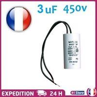 Condensateur Moteur de Demarrage  3µF 3UF 450V 5% à Fils