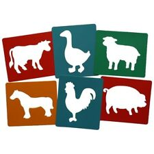 Farm farmyard animal stencils pack of 6 washable plastic