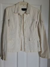 BCBG Max Azria Button Down Heavy Weight Cargo Pockets Style Coat Jacket White L