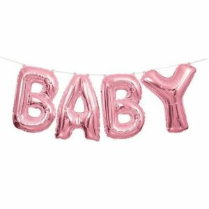 """Baby Shower Party Pink Foil Letters Air fill Hanging Banner Girl Balloons 14"""""""