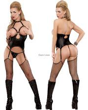 Women PVC Open Bra Teddy Sequined Clubwear G-string Garter Belts Fancy Lingerie