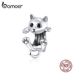 BAMOER Retro 925 Sterling Silver DIY Charm Enamel Playful Cat Fit Women Bracelet