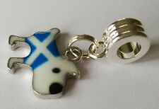 Scottish Flag Doggie Charm on Silver Plated Charm Dangle