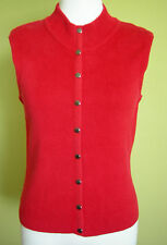 Ladies Casual Red Clip Front Cotton Knit Vest Gordon Smith Basic Petites Size M