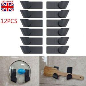 12Pcs Wall-Mounted Pot Pan Lid Storage Holder Home Kitchen Utensils Organization