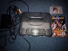 Nintendo N64 Console Clear Grey Including Game NBA Hang Time