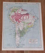 1928 VINTAGE ECONOMIC MAP OF SOUTH AMERICA CLIMATE ARGENTINA BRAZIL CHILE PERU