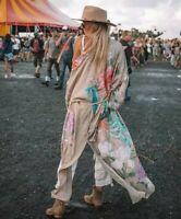 S New Boho Floral Kimono Maxi Duster Jacket Vtg 70s Ins Womens Size SMALL NWT