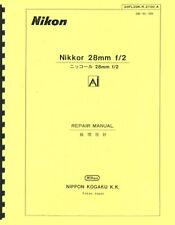 Nikon Nikkor 28mm F2 Ai (1977) Service & Repair Manual: English & Japanese