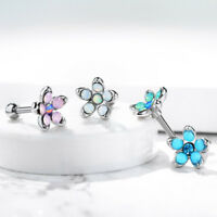 Barbell Silver Studs Helix Tragus Rook Piercing Opal Flower Cartilage Earring