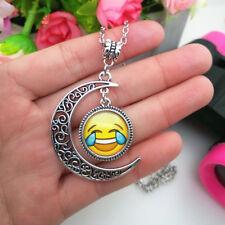 Emoji face excitement Emoticon moon Cabochon Glass chain pendant necklace.