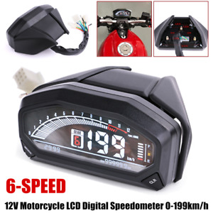 12V Motorcycle Modified LCD Digital Speedometer 6-speed Guage Odometer 0-199km/h