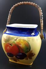 Rubian Art Pottery, England, c 1930s Biscuit Barrel, Decorated With Plums, Nuts