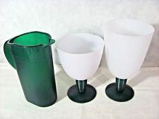Tupperware Impressions Dessert/Goblet Cups w/ Hunter Green Stems & Mini Pitcher