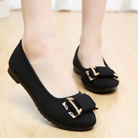 Women Round Toe Slip On Bows Casual Spring Comfort Office Working Loafers Flats