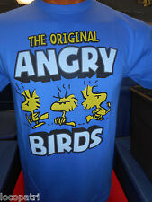 Adults Mens Peanuts Woodstock The Original Angry Birds 100% Cotton Shirt New M