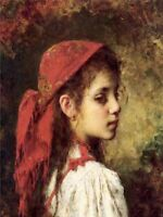Art Oil painting Alexei Harlamoff - Portrait of a Young Girl in A Red Kerchief