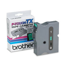 """New Brother P-Touch Tape Cassette TX-7511 Black on Green 1"""" (24mm) Free S&H"""