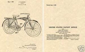 Vintage SCHWINN BICYCLE US Patent 1939 Art Print READY TO FRAME!!!!! bike