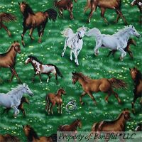 BonEful FABRIC FQ Cotton Quilt Green White Brown HORSE Yellow Flower Farm Scenic