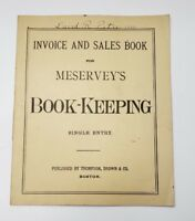ANTIQUE MESERVEY'S BOOK-KEEPING INVOICE AND SALES BOOK UNUSED INSIDE