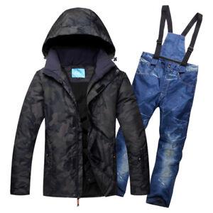 Mens Winter Warm Ski Suits Waterproof Ski Pants Jackets Coat Snowboard Snowsuits