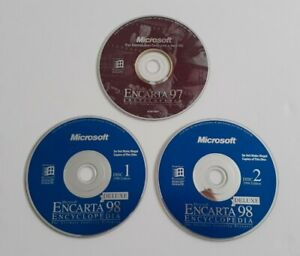 Microsoft Encarta 97 & 98 Deluxe Encyclopedia Vintage Educational Discs Only