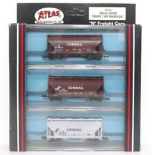 Atlas N CR Conrail 2 Bay Centerflow Covered Hopper Freight Train Car 3 Pack 5773