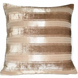 vb11a Light Brown Pale Brown Taupe Stripe Thick Cotton Blend Cushion Cover/Case