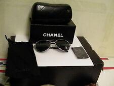 Authentic Chanel 4201 c.124/3F Silver Gray Aviator Sunglasses 58mm