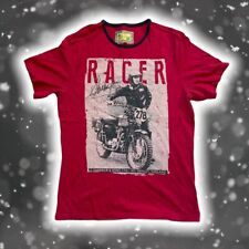 BARBOUR Steve McQueen Mens T Shirt Burgundy Red Size L Large Vintage Style Racer