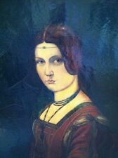 "Leonardo DaVinci ""LaBelle Ferroniere"" Painting  Exceptional Quality 1924 Copy"