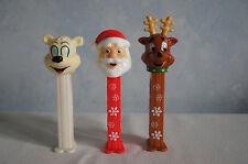 Lot of 3 Pez dispensers Santa Reindeer snowflake stem Icee Bear feet GUC