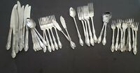 National Stainless Rose Flower Stainless Steel Flatware 38 Piece Mixed Lot