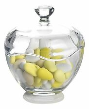 Clear/Transparent Cut Glass Round Bonbon Dish Jar Candy Box Bowl With Lid