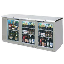 "Beverage-Air 79"" Three-Section Stainless Steel Back Bar Glass Door Cooler"