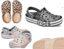 CROCS Bayaband Clog Sandal Leopard, Grey, Black, animal print