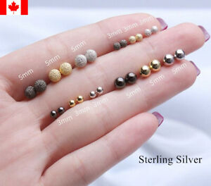 Pair S999 pure silver Bead Ball ear Stud Earring fashion woman jewelry Small
