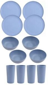 Mainstays Plastic Dinner Plates, Cereal Bowls & Tumblers Set, Blue, NEW