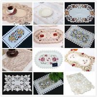 Kitchen Dining Table Place Mat Embroidered Floral Lace Doily Placemat 30x45cm