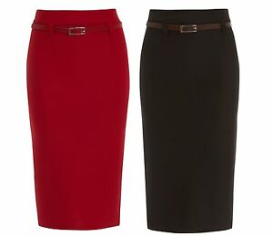 WOMENS BODYCON BLACK RED PENCIL SKIRTS LADIES BELT STRETCH SKIRT LONG SIZE 8-18
