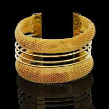 Fashion Retro Women Gold Mesh Net Punk Bangle Open Cuff Wide Bracelet Wristband