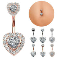 Beauty Crystal Heart Dangle Navel Belly Button Ring Bar Body Piercing Jewelry