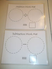 Two laminated math dry erase work mats.  Preschool Addition and Subtraction acti