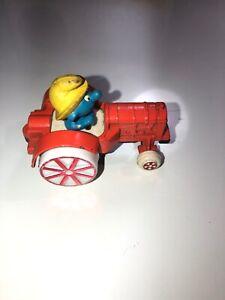 Smurfs ERTL Tractor Smurf Farmer Ol McSmurf Vintage Diecast Metal Toy 1982 Peyo