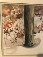 HAL SINGER SIGNED ORIGINAL WATERCOLOR PAINTING TREE SNOW LANDSCAPE ART FINE