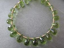 Peridot Faceted Briolette Beads 33pcs